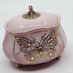 ARDLEIGH ELLIOTT WINGS OF HOPE BREAST CANCER AWARENESS BUTTERFLY MUSIC BOX 2003